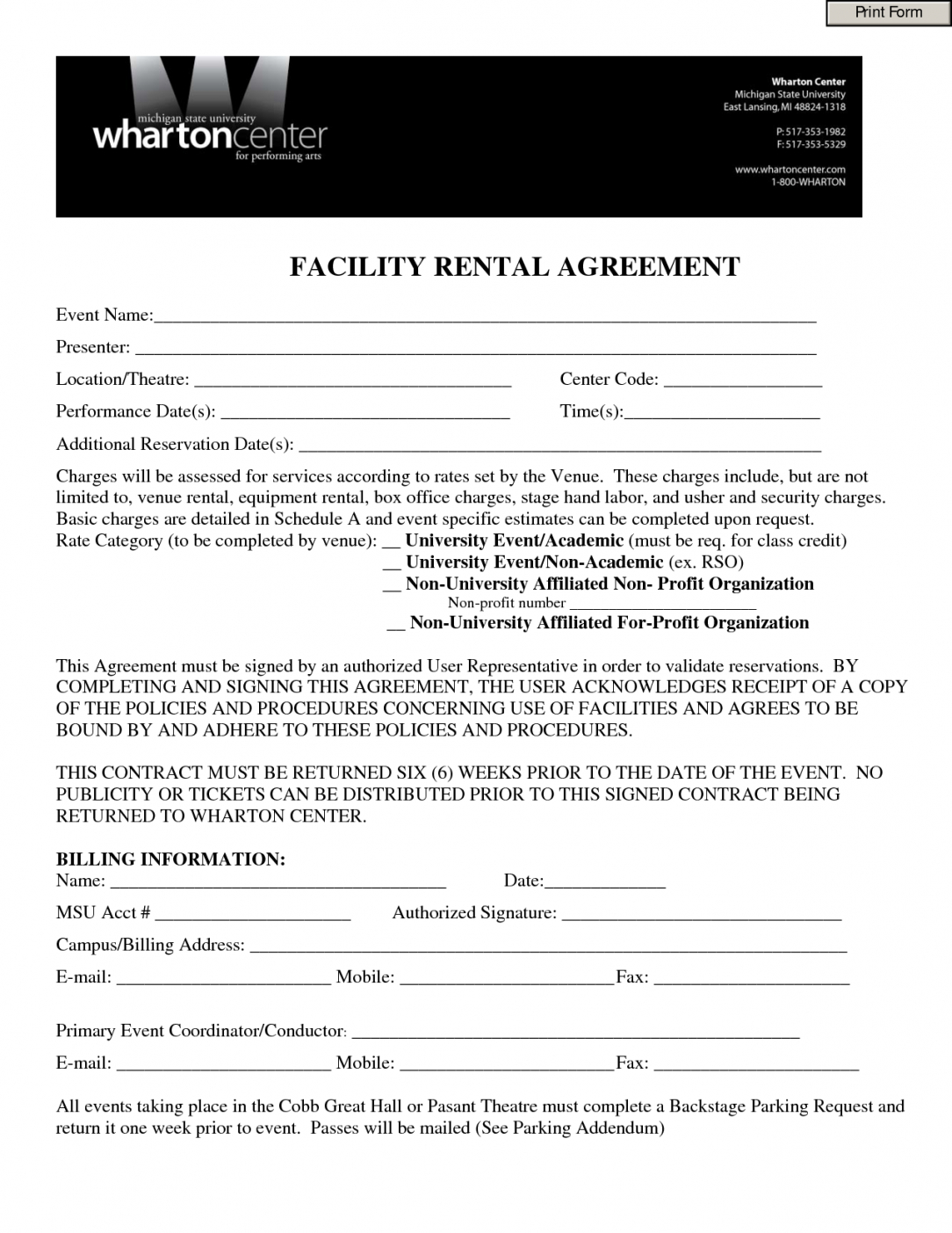 our event contract template  invitation templates  facility rental hall rental agreement contract