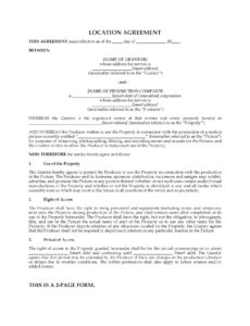 our film location agreement  legal forms and business templates film location contract template