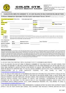 our fitness membership agreement template  lostranquillos gym membership contract agreement