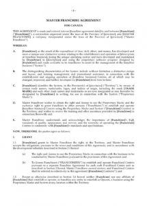 our franchise license agreement template  lostranquillos franchise license agreement sample