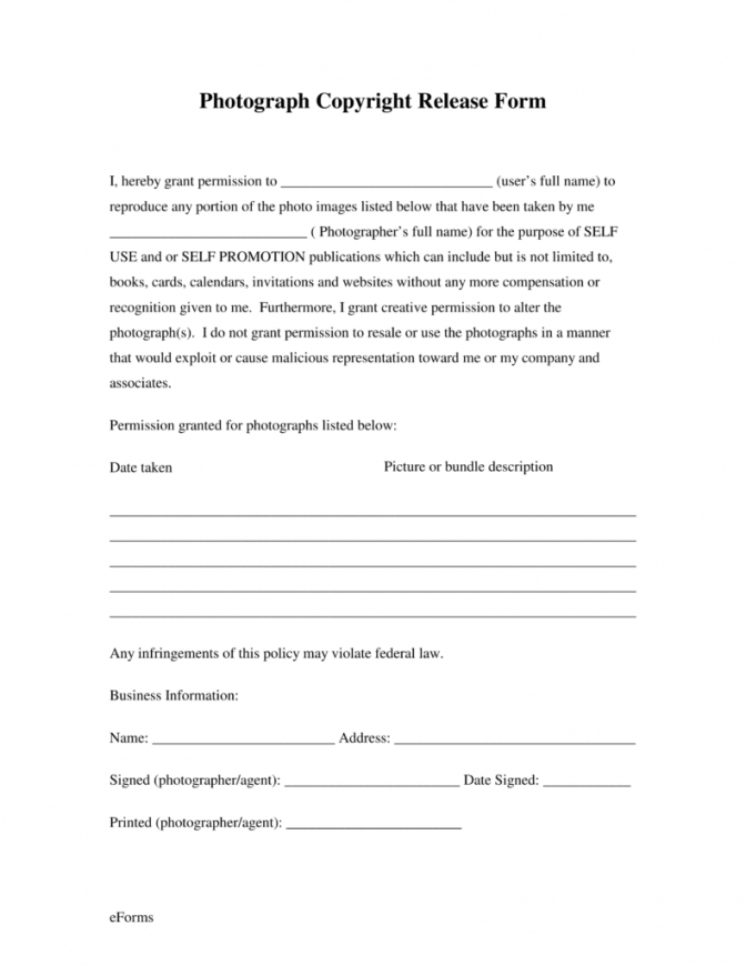 our free generic photo copyright release form  pdf  eforms  free headshot photography contract template