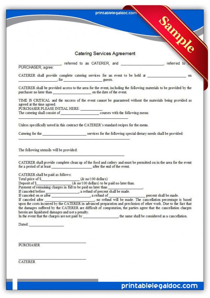 our free printable catering services agreement  sample printable legal food supplier agreement sample