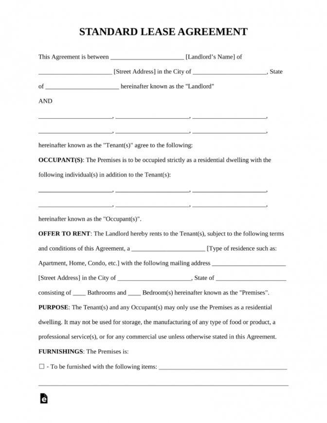 our free rental lease agreement templates  residential & commercial renters contract agreement