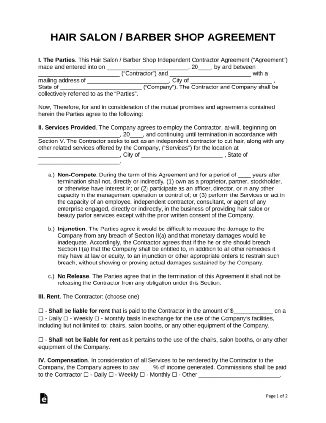 our free salon independent contractor agreement template  pdf  word hair stylist contract agreement sample