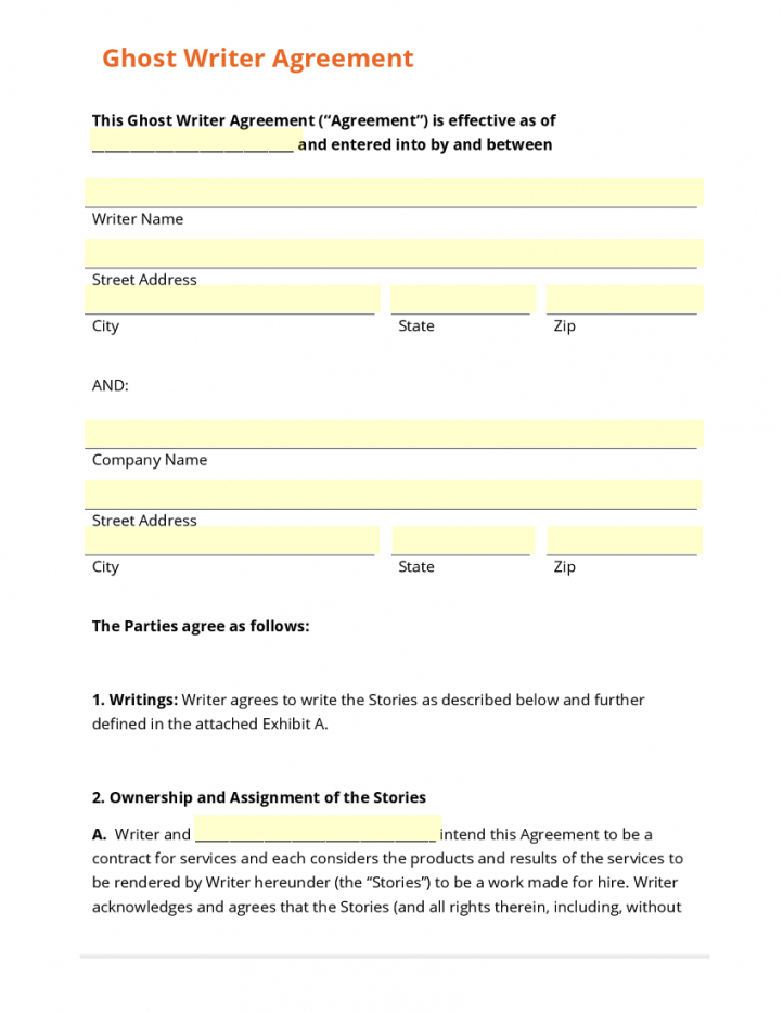 our ghostwriting contract template ghost writer contract template