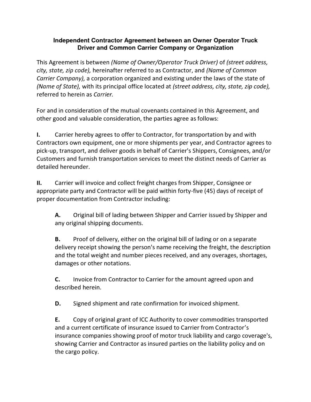 our independent contractor agreement between an owner operator owner driver contract template