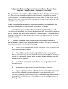 our independent contractor agreement between an owner operator personal driver contract sample