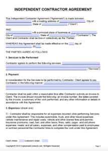 our independent contractor agreement  pdf  word massage therapy contract agreement