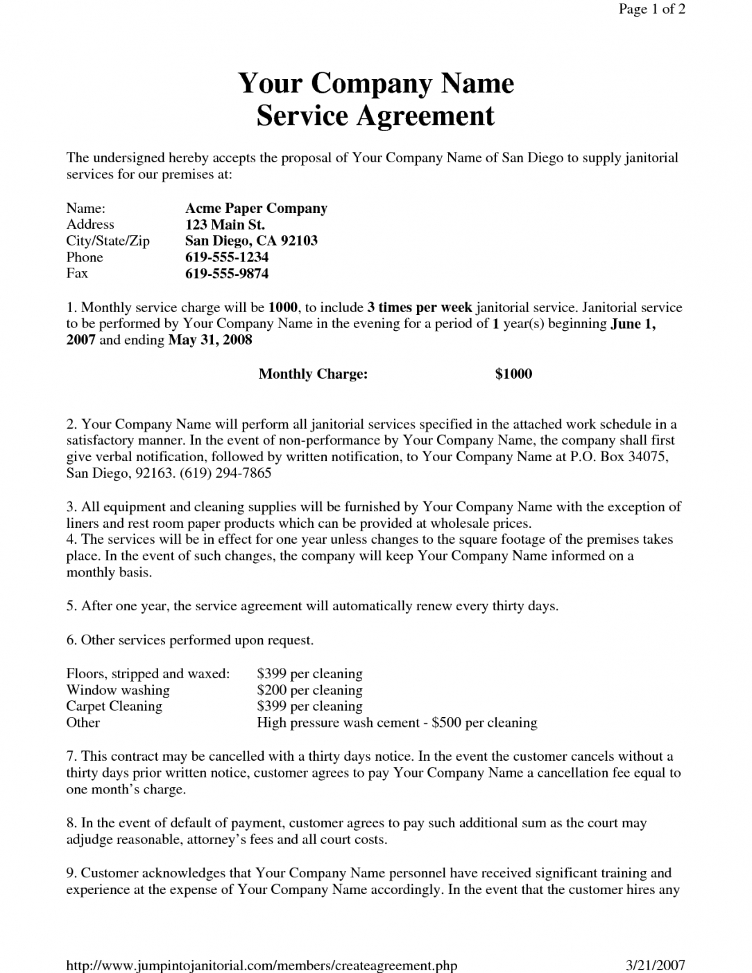 our janitorial service agreement by hgh19249  sample janitorial janitorial contract agreement