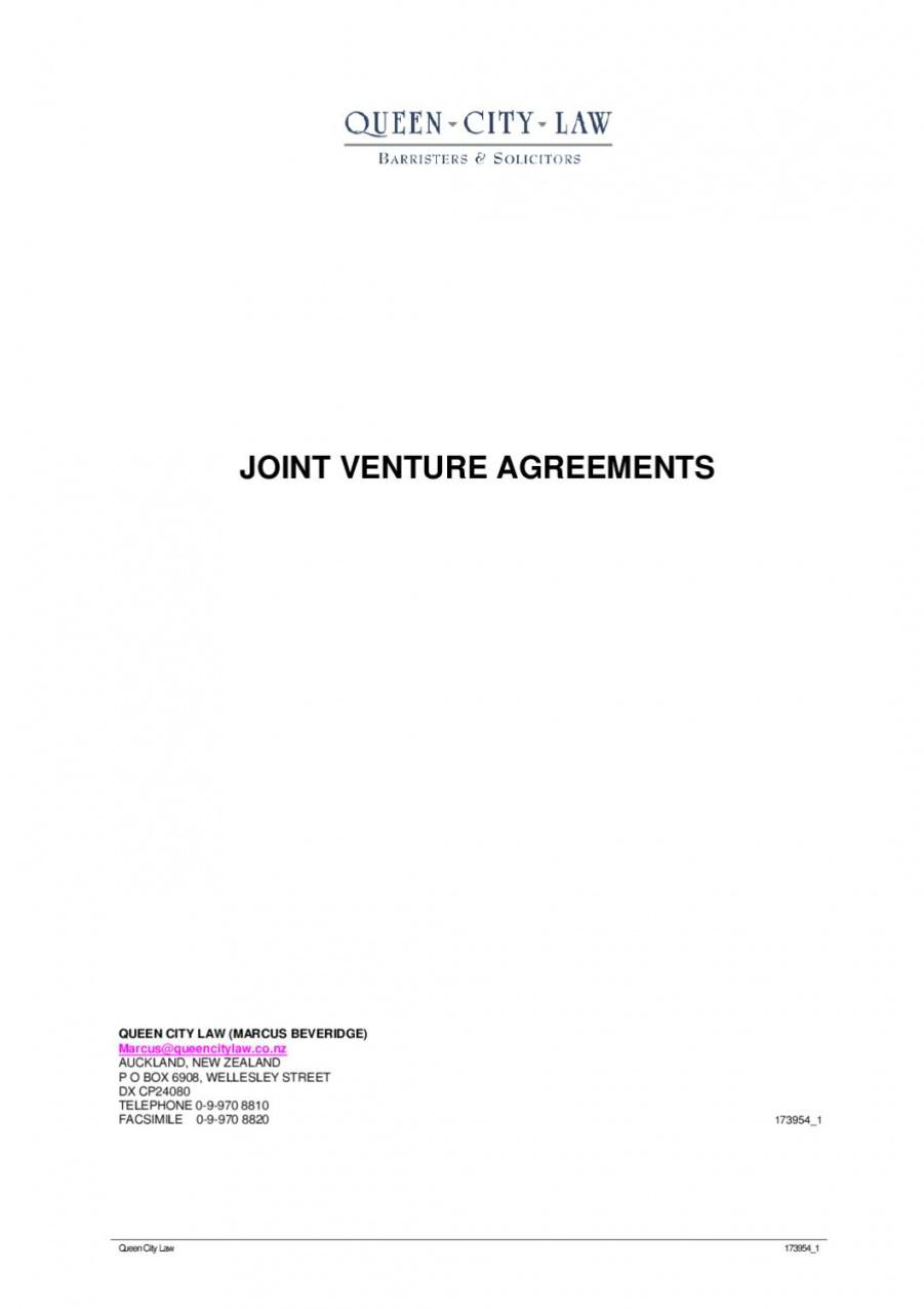 our joint venture agreements by queen city law (marcus beveridge) by unincorporated joint venture agreement sample