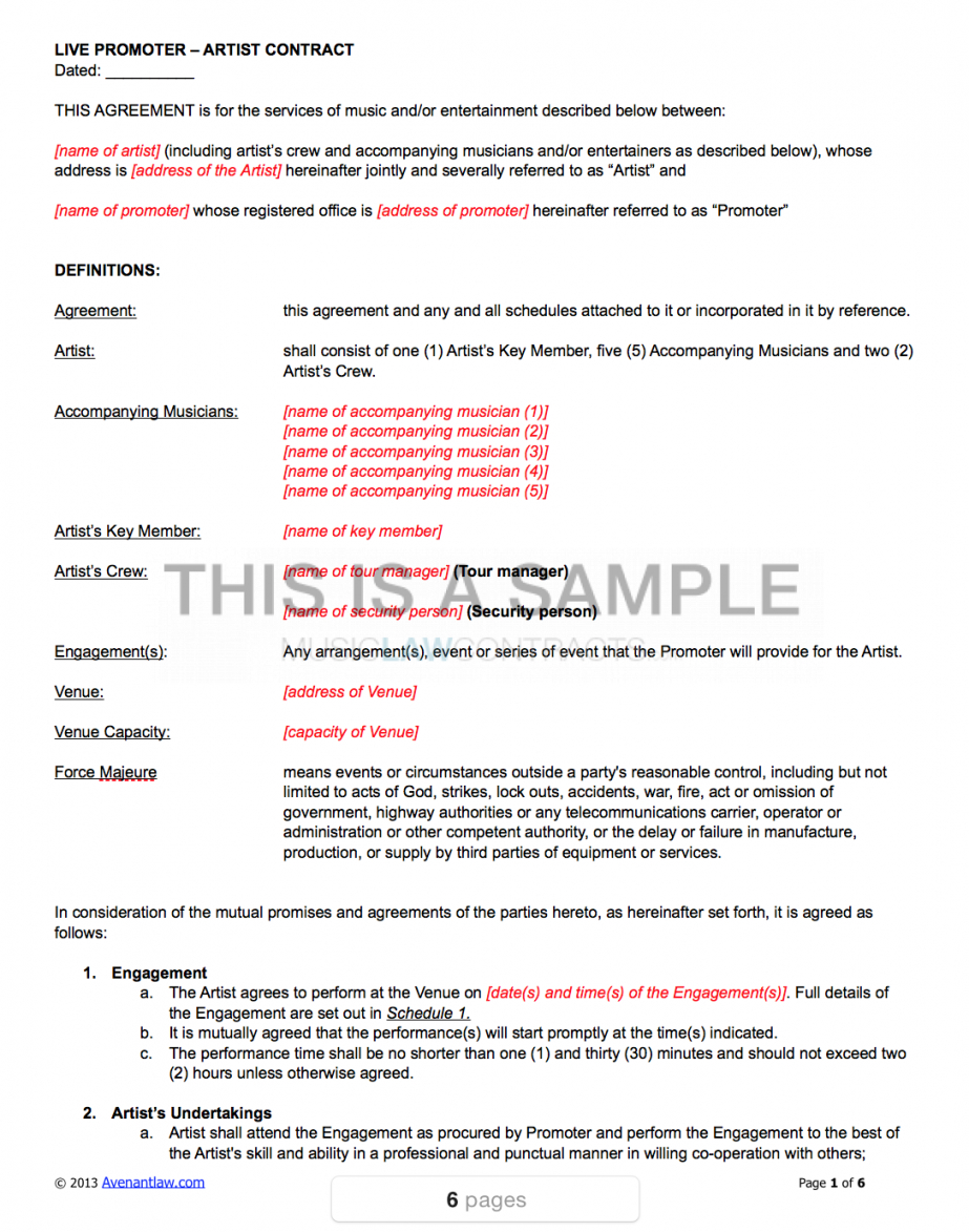 our live work (16 contracts for venues, agents and touring artist) booking agent contract agreement