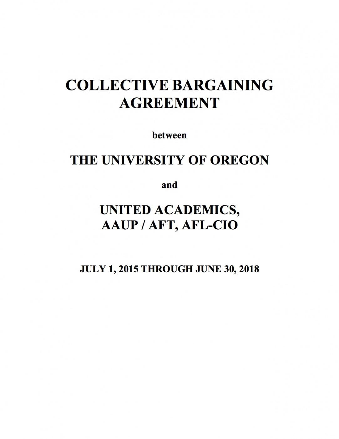 our our contract  united academics of the university of oregon collective bargaining agreement sample contract
