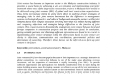 our pdf) joint venture in malaysian constructing companies unincorporated joint venture agreement sample