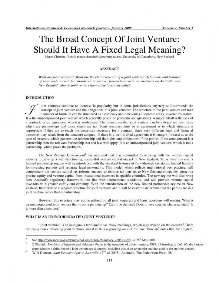 our pdf) the broad concept of joint venture: should it have a fixed unincorporated joint venture agreement sample