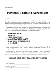 our personal training sheets personal training agreement  fitness fitness instructor contract agreement template