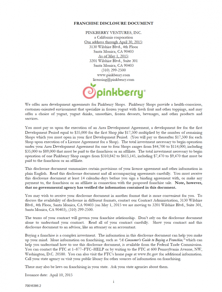 our pinkberry franchise disclosure document  franchise disclosure franchise development agreement sample