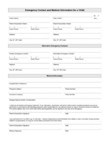our printable emergency contact form template  home daycare short term childminding contract template