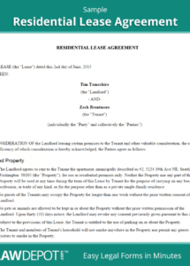 our residential lease agreement  free rental lease form (us)  lawdepot renters contract agreement