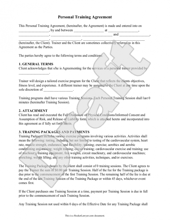 our template: personal training contract sample fitness instructor contract agreement template