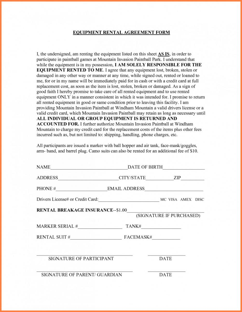 Our Tool Rental Agreement Template Lostranquillos Generator