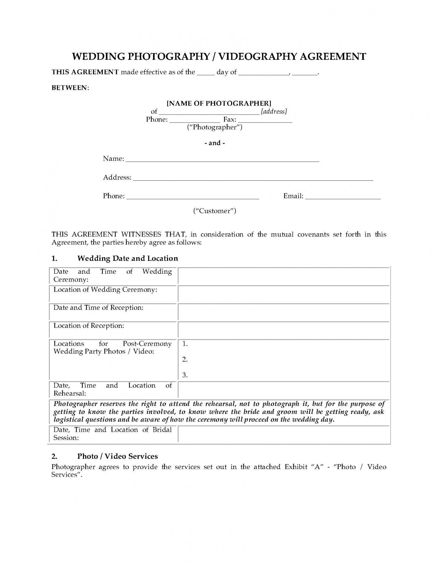 our wedding photography and videography contract  legal forms and video photography contract template