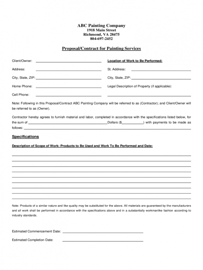 painting contract template  2 free templates in pdf, word, excel social work client contract template