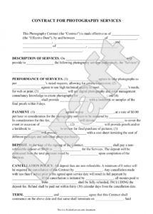 photography contract template for weddings, portraits, events wedding photography cancellation contract template