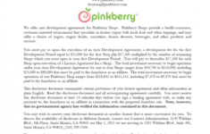 pinkberry franchise disclosure document  franchise disclosure franchise development agreement sample