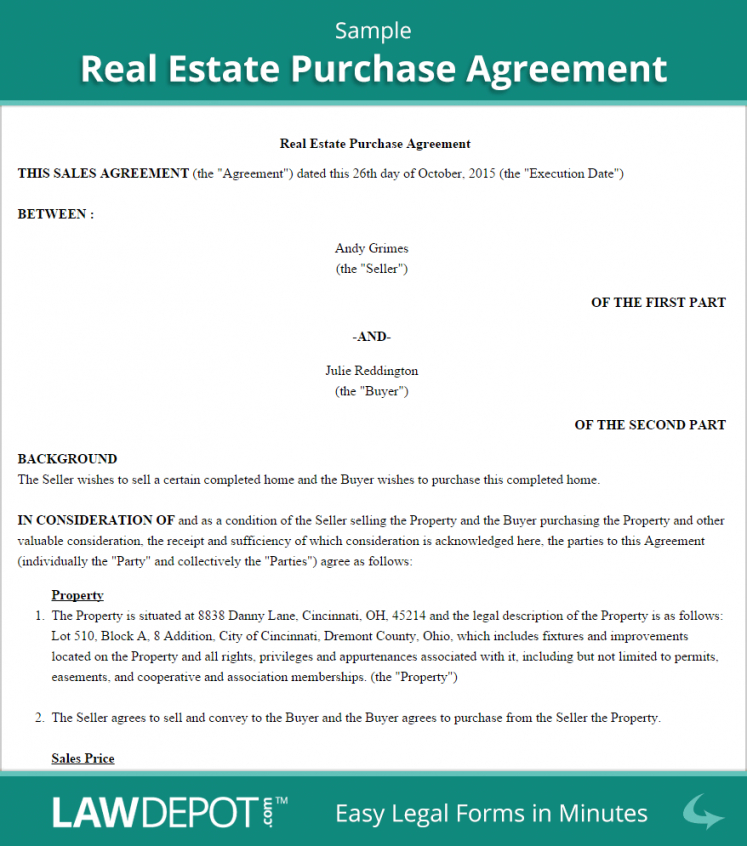 real estate purchase agreement (united states) form  lawdepot home offer contract template