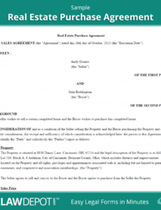 real estate purchase agreement (united states) form  lawdepot home ownership contract template