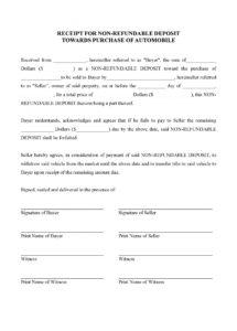 receipt for deposit on purchase of vehicle  legal forms and car deposit contract template