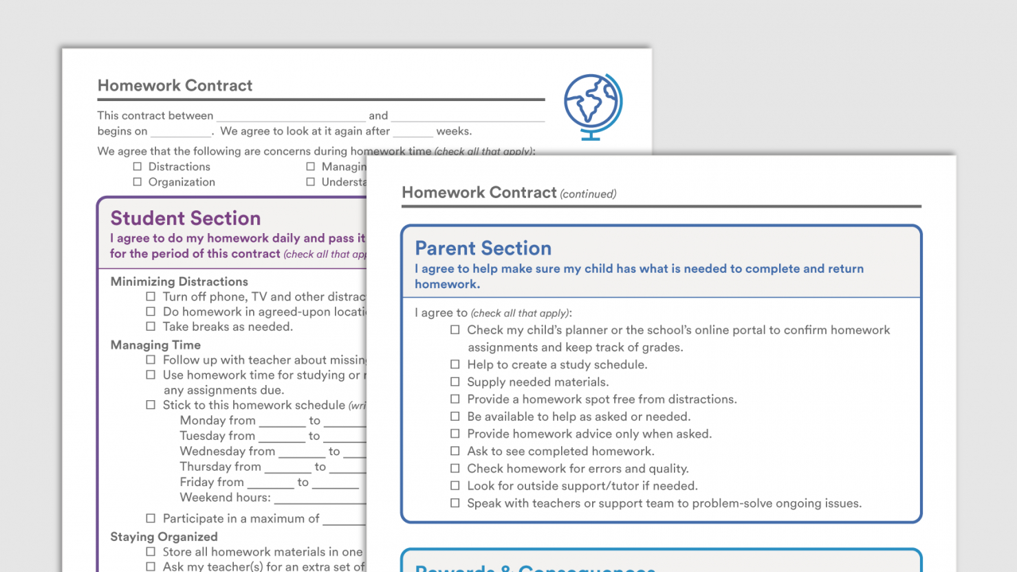 sample homework contracts  downloadable homework contract parent college student contract template