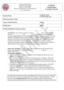 sample learning contract  msw concentration student learning contract template
