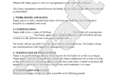sample nanny agreement form template  etcetera  nanny contract part time nanny contract template