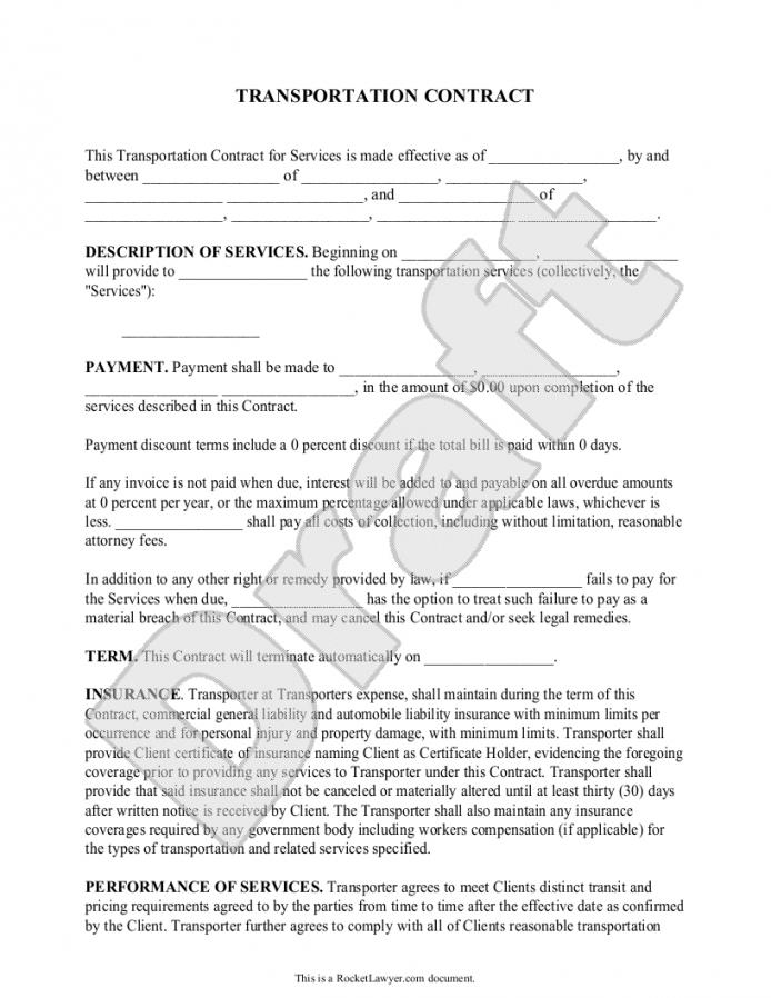 sample transportation contract form template  lee  contract client contract agreement sample
