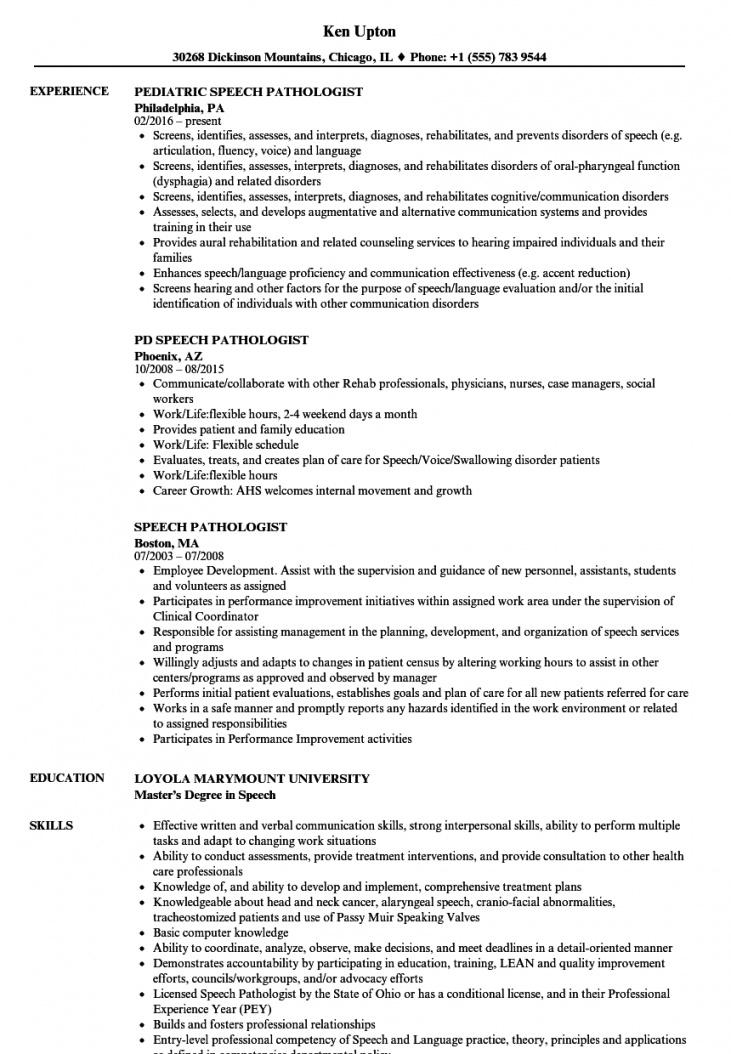 Speech Pathologist Resume Samples Velvet Jobs Therapy Contract Template