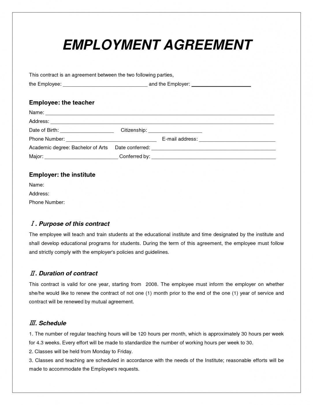 Casual Employment Agreement | This Is The 007 Employment Contract Template Free Download Ideas