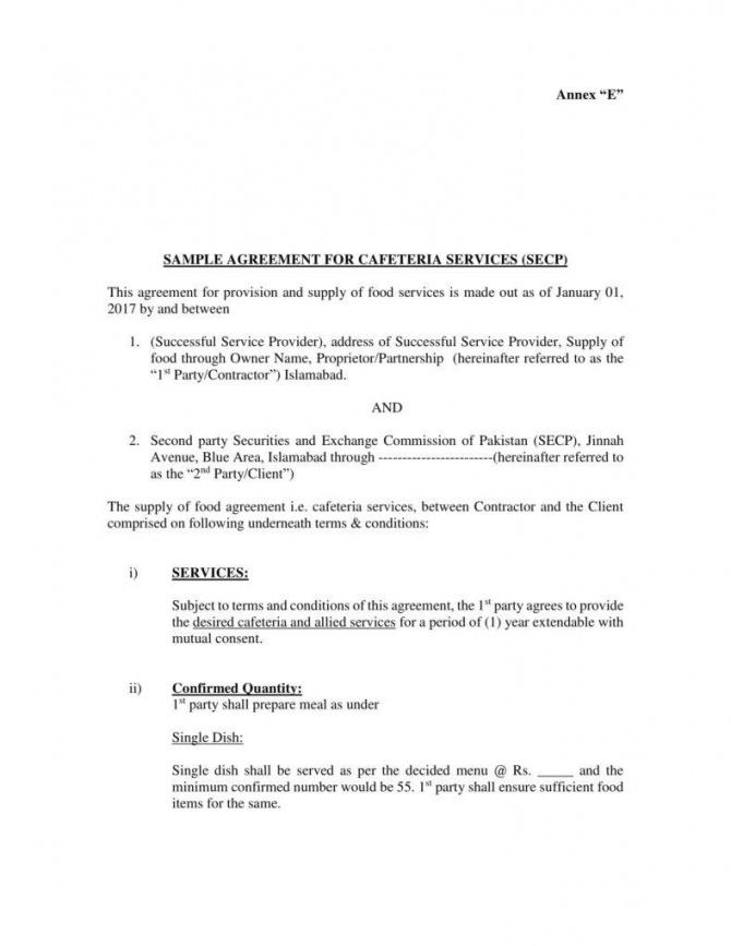 this is the 10+ vendor agreement templates for restaurant, cafe & bakery  pdf food supplier agreement sample