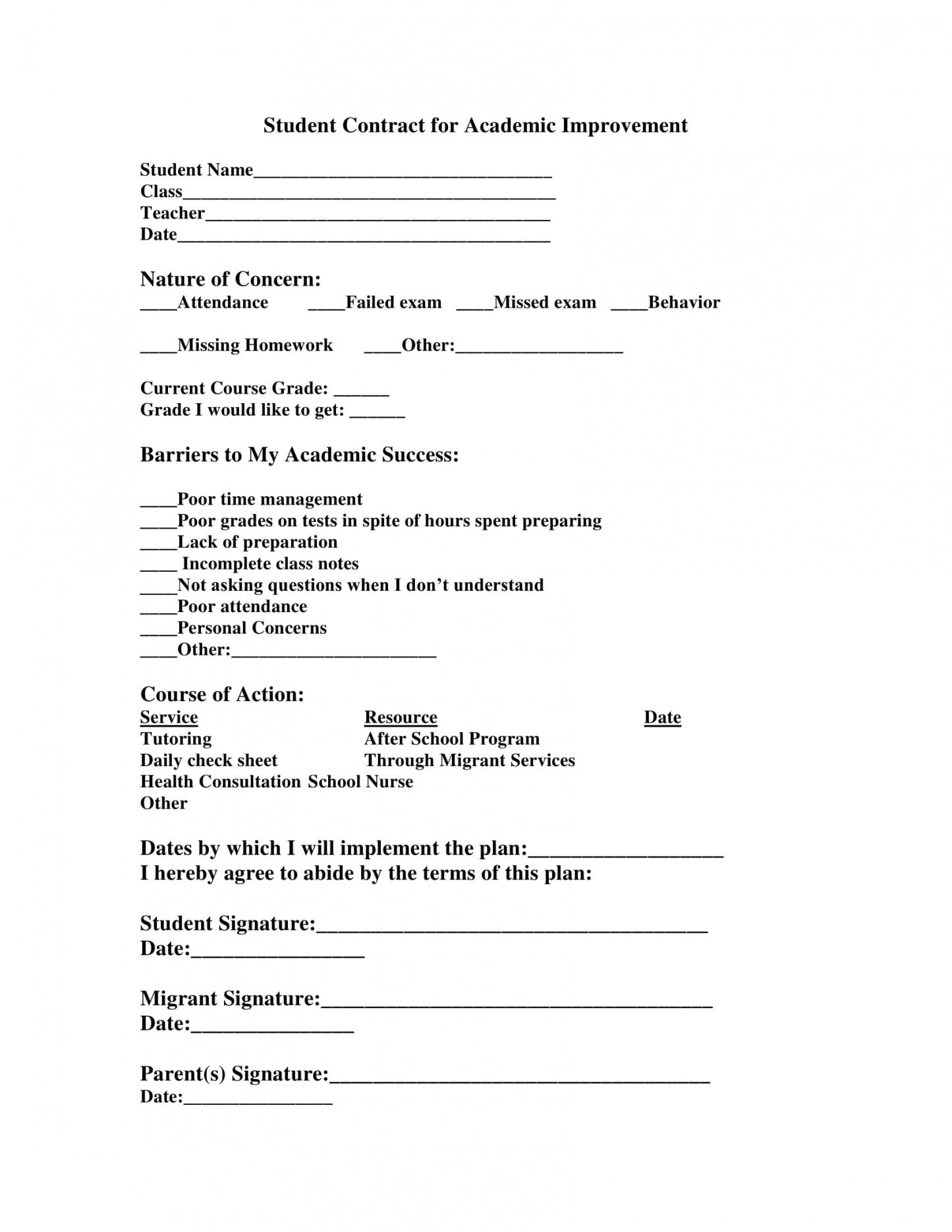 this is the 11+ student academic contract template examples  pdf, word, google student academic contract template