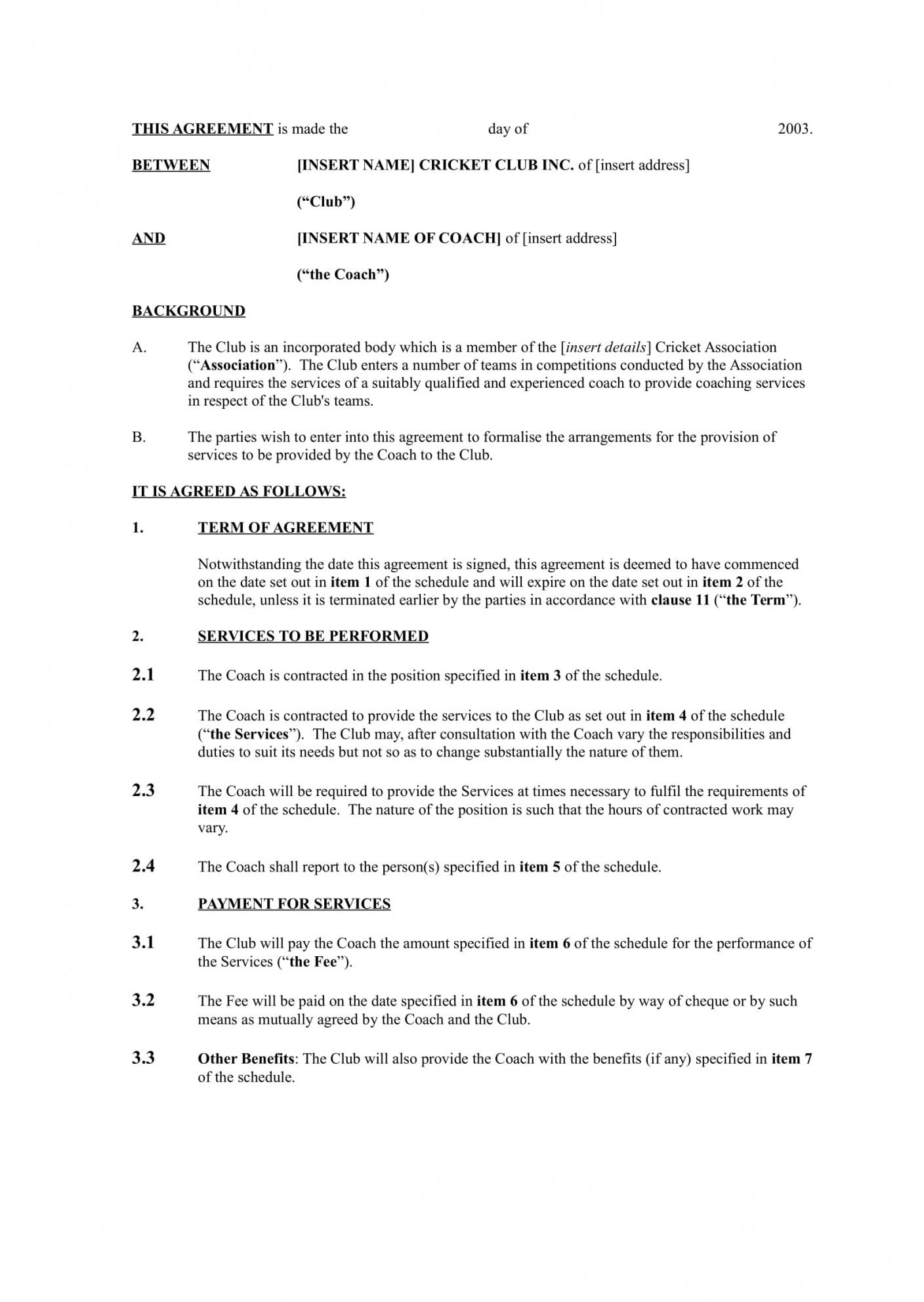 Cricket Player Contract Template