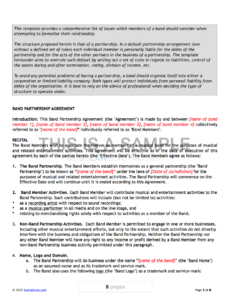 this is the band agreement template band contract agreement