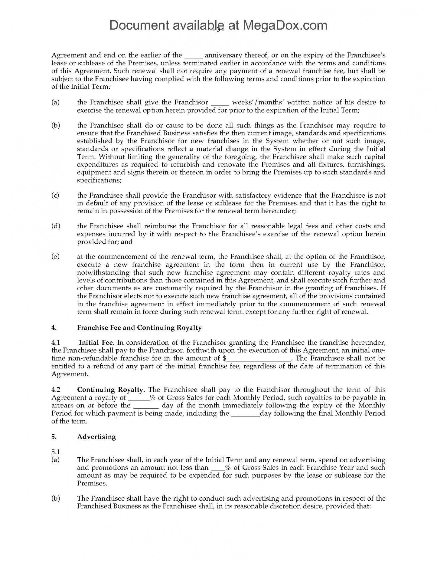 this is the canada franchise agreement for fast food restaurant  legal forms training franchise agreement sample