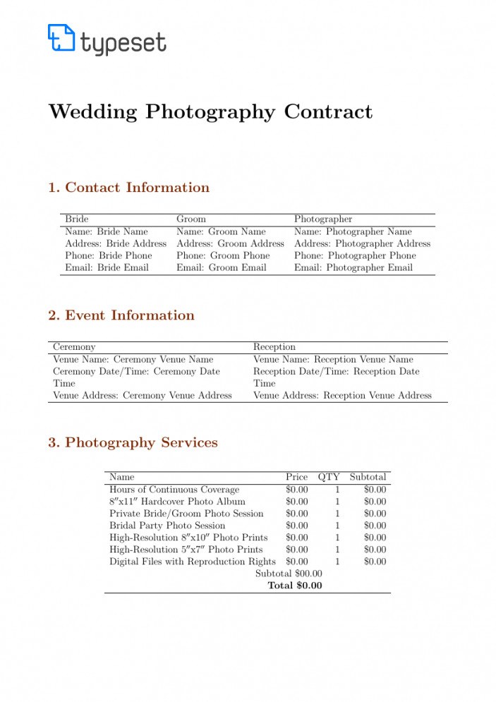 this is the contracts  wedding photography contract template template photoshoot contract template