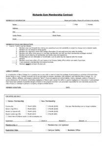 this is the fitness membership agreement template  lostranquillos gym membership contract agreement