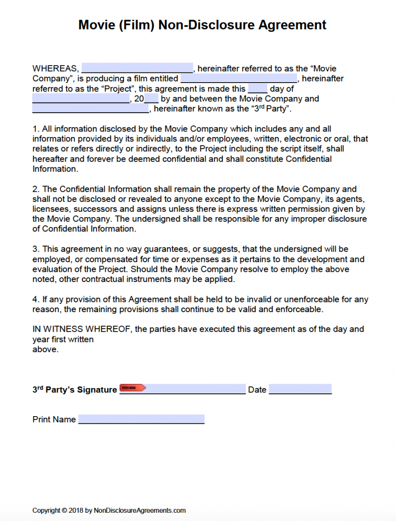 this is the free film (movie) nondisclosure agreement (nda) template  pdf  word film production agreement contract template