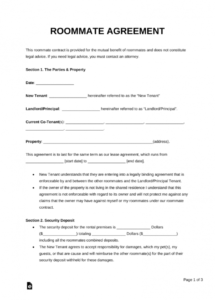 this is the free roommate (room rental) agreement template  pdf  word  eforms student accommodation contract template