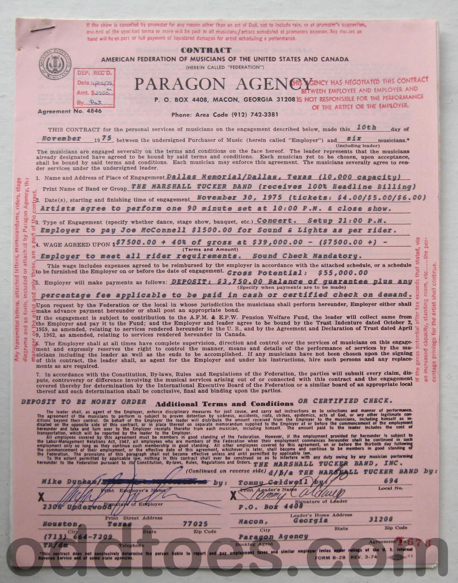 this is the marshall tucker band concert contract 1975 dallas band rider contract template