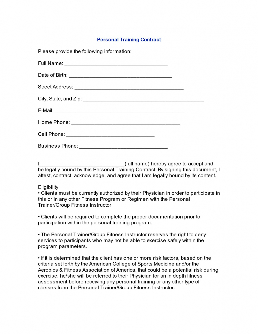 this is the personal training agreement form 26 contract agreement form fitness instructor contract agreement template
