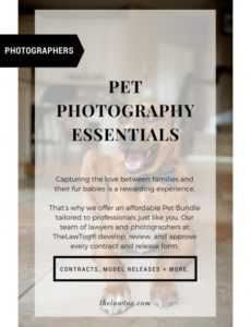 this is the pet photography essentials  thelawtog® pet photography contract template