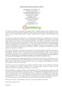 this is the pinkberry franchise disclosure document  franchise disclosure training franchise agreement sample